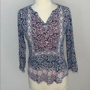 Lucky Brand 3/4 sleeve boho chic shirt sz M